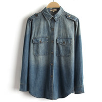 Summer Rinsed Denim Long Sleeve Denim Shirt [8173570055]