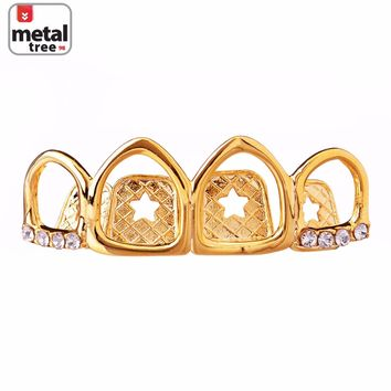 Jewelry Kay style Men's Fashion Iced Out TOP 4 Teeth 14K Gold Plated Open Grillz Single L40 4F G