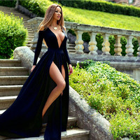 Runway Designer Navy Blue Velour Ladies Party Dress deep v neck cutout long sleeve dual high slit floor length sexy long dresses