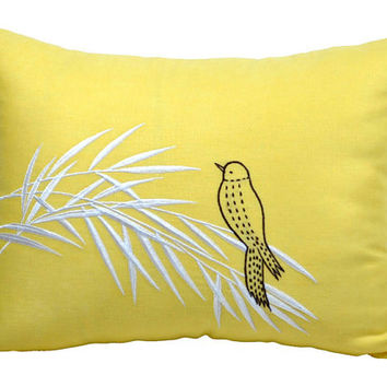 Bird on Bamboo Lumbar Pillow Cover, Decorative Pillow Cover,Yellow Linen with Brown Bird, Bird Pillow Accent, Pillow Cover 12 x 16