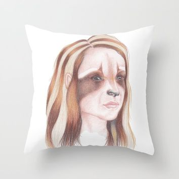 Raccoon Girl Throw Pillow by drawingsbylam