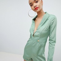 PrettyLittleThing Tux Button Detail Romper at asos.com