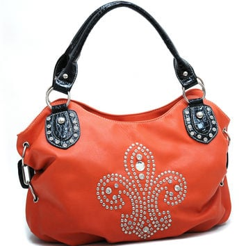 Croco Trim Fashion Hobo Bag w/ Rhinestone Studded Fleur de Lis Design - Orange Color: Orange