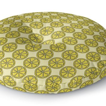 LEMON SLICES PATTERN Floor Pillow By Northern Whimsy