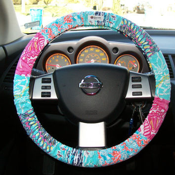 lilly pulitzer steering wheel cover by from mammajane on etsy. Black Bedroom Furniture Sets. Home Design Ideas