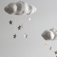 Silver Star Cloud Mobile- modern fabric sculpture for baby nursery decor in white linen and metallic faux silver leather