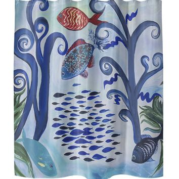 FANCY FISH REEF Shower Curtain Pillow By Lokiloni