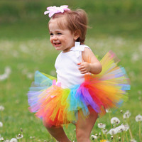 Sweet Candy Rainbow Tutu Baby Girl Bright Photography Prop Costume First Birthday Skirt Newborn Halloween Tutus Gift TS062