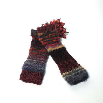 Hand Knit Fingerless Gloves Arm Warmers Burgundy, Gray, Purple Red Orange