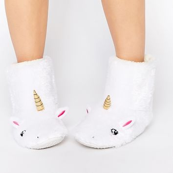 Daisy Street Unicorn Slipper Boots