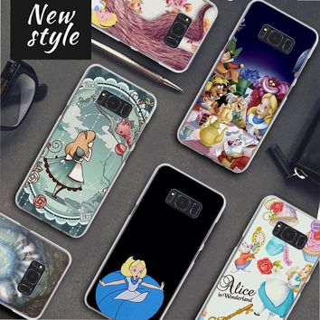 alice in wonderland Pattern clear frame hard Back Case Cover for Samsung Galaxy S8 S8 Plus S9 S9Plus S6 S7 S5 Note 8 5