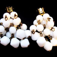 """Dangle Cluster Earrings White Glass Beads Clip On's Cha Cha Brass Metal 1.5"""" Vintage"""