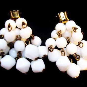 "Dangle Cluster Earrings White Glass Beads Clip On's Cha Cha Brass Metal 1.5"" Vintage"