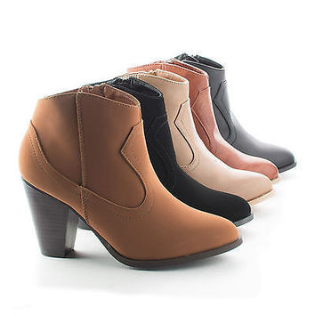 Rebel01 Chestnut By Bamboo, Western Stacked Chunky Heel Ankle Booties