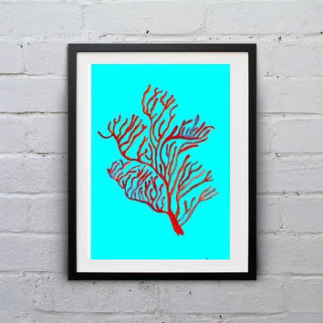 Red algae Sea coral Blue watercolor painting wall art print beach seaweed grass poster decor bathroom decal print art large small aqua blue