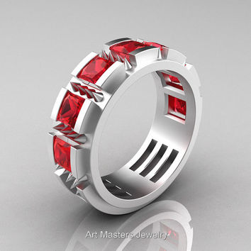 Mens Avant Garde 14K Matte White Gold Princess Rubies Channel Cluster Thorn Wedding Ring R574-14KMWGR