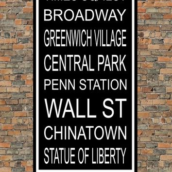 New York City Subway Sign Print - Times Square, Broadway, Central Park, Wall St, Chinatown