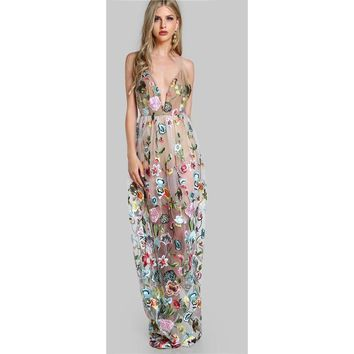 Nude on Floral Dress