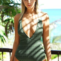 Cupshe Perfect Emerald Lace One-piece Swimsuit
