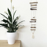 DRIFTWOOD MOBILE N8 25in long - 63cm  w/ clay stone, leather cord, tassel and white/golden accents One of a kind Beach home decor