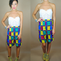 Vintage 1990s Deadstock color block geometric print high waisted long shorts