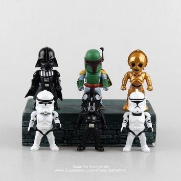 Star Wars Force Episode 1 2 3 4 5 Disney  9cm 6pcs/set Q version Action Figure Posture Anime Decoration Collection Figurine Toys model for children gift AT_72_6