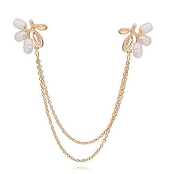 OBONNIE Natural Pearl Fruit Gold Leaf Flower Life Tree Brooch Pin Collar Pin Lapel Pin with Chain
