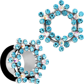 "9/16"" Aqua and Aurora Gem Snowflake Steel Tunnel Plug Set"