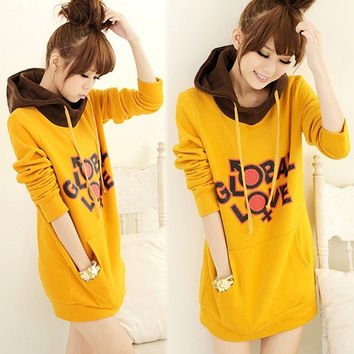 Ladies Fashion Casual Hoodie Long Sleeve Sweatshirt Pullover Jumper Z_G (Size: M, Color: Yellow) = 1932530116