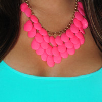 You'll Be Mine Necklace: Neon Pink