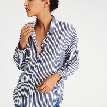 AE OVERSIZED STRIPED DOLMAN SHIRT, Navy