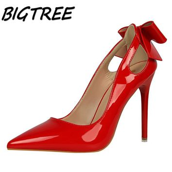 BIGTREE summer women Pointed Toe High heel shoes woman shallow pumps ladies butterfly-knot hollow out Thin Heels single shoes
