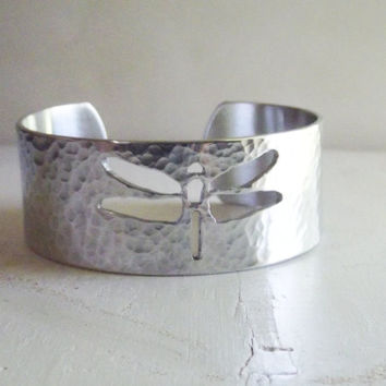 Dragonfly Wide Hammered Cuff Bangle Bracelet Garden Gift For Nature Lovers Insect Jewelry Under 50 Silver Aluminum - Oh My Metals