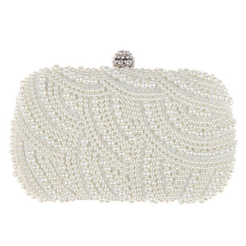 Luxury Two Sided Crystal and Pearl Evening Clutch Bag