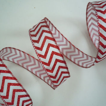 "wired Christmas ribbon decorations glittering sparkle chevron red white Christmas ribbon wreaths make Christmas wired ribbon bows 1.5"" 5yd"