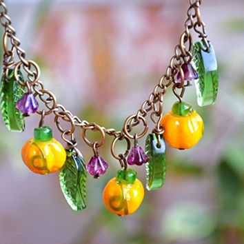 Thanksgiving Pumpkin necklace Fall necklace Lampwork Autumn necklace bead jewelry Halloween jewelry Harvest Jewelry Vegetable Women gift Halloween necklace Harvest jewelry Glass jewelry