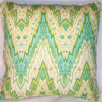 "Waverly Green and Aqua Flamestitch Throw Pillow Williamsburg Citron Zigzag Chevron  18"" Square Welted Insert Included Ready Ship"