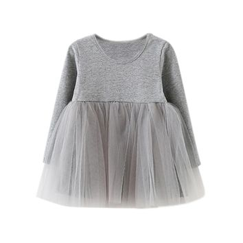 Casual Kids Dresses Girls Dress Long Sleeve Baby Girls Tutu Dress Tulle Fluffy Girls Princess Dress Toddler Girls Clothing