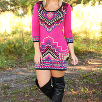 Hate How Much I Love You Dress: Hot Pink/Multi