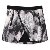 ROMWE Ink & Wash Painting Print Zippered Black Skirt