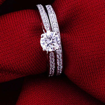 Charm Silver Ring Women's Jewelry Crystal Wedding Jewelry Engagement Head Panel Couple Ring Lover Size 6 7 8 9