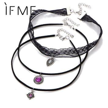 ONETOW IF ME 3 Layer Steampunk Lace Choker Necklaces Sexy Pendent Velvet Short Necklace Fashion Jewelry Women Girls Accessories Collar