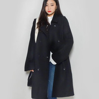 Wide Lapel Double Breasted Coat | mixxmix