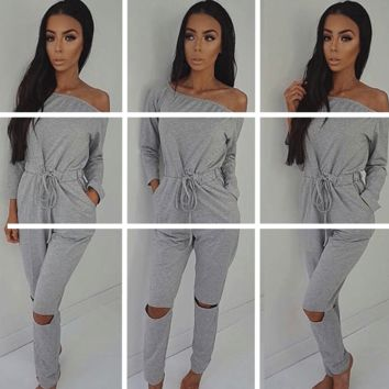 Womens Stylish Off Shoulder Bodycon Jumpsuit