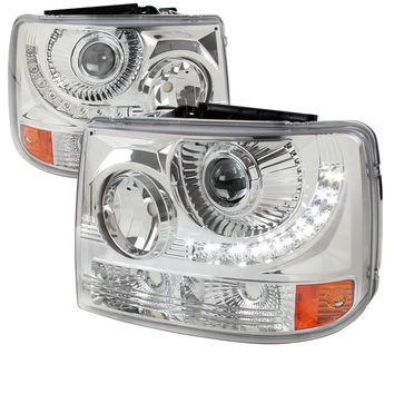 99-02 CHEVY SILVERADO HEADLIGHT 1 PC PROJECTOR HEADLIGHT - CHROME WITH LED (ONLY FITS WITH SPEC-D VERTICAL FACELIFT CONVERSION GRILL)