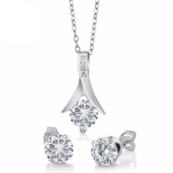 "2.20 Ct Round Moissanite 925 Sterling Silver Pendant and Earrings Set 18"" Chain"