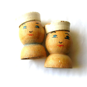 Vintage Sailor Salt and Pepper Shakers - Wood Salt and Pepper Shaker - Wooden Sailors - Navy