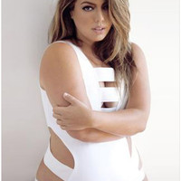 Plus Size White/Black Bodysuit Bathing