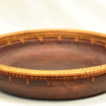 Rattan and Wood Serving Tray/Bowl