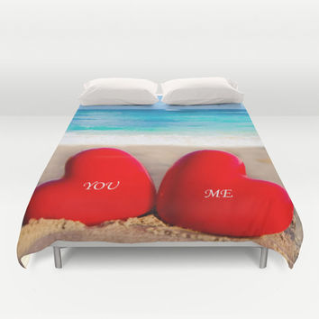 Valentine's Duvet Cover with two Hearts on the beach, Personalized Water Bedding Cover,love, romantic, wedding, sea, sand, ocean bedding